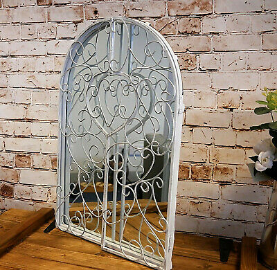 New Shabby Chic White Metal Shutter Style Arched Home Bathroom Wall Mirror 50cm