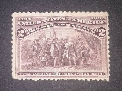 Travelstamps:1893 US Stamps Scott # 231 Landing of Columbus mint ng 2cent unused