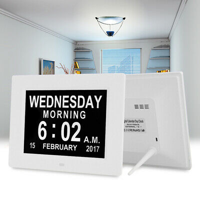 8inch LED Video Dementia Digital Calendar Clock Large Letter Week/Month/Year UK
