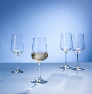 Villeroy & Boch Ovid White Wine Glasses, Set of 4, 380 ml, Crystal Glass, Clear