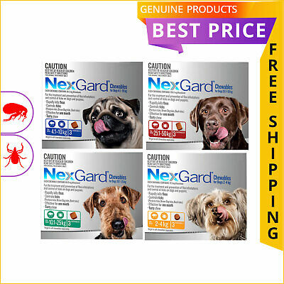 Nexgard Chewables for Dogs 3 Doses All Sizes Tick and Flea Prevention