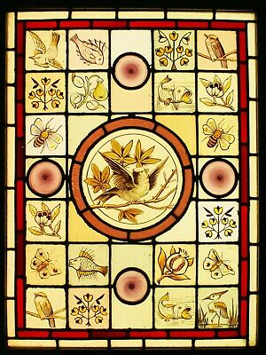 Victorian Leaded STAINED GLASS Window - Animals & Flowers  - We Ship Worldwide