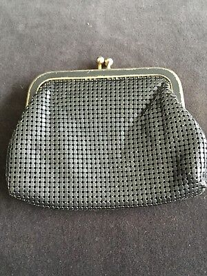 Grey Coin Purse Vintage Gold Crest Mesh