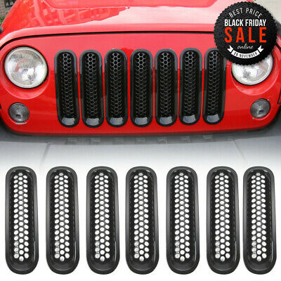 Clip-on Honeycomb Front Grille Inserts Decor Cover Fit Jeep Wrangler JK 2007-17
