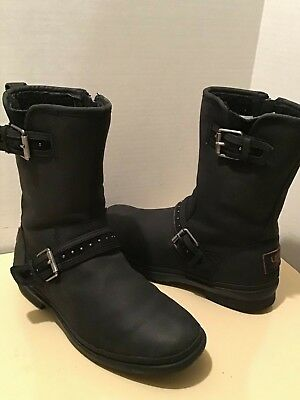 5b58827432f UGGS WOMEN'S BLACK Leather Boots Size 6