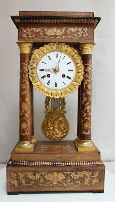 Hughe Antique French Empire Column Clock Satinwood Marquetry Gilt Bronze Portico