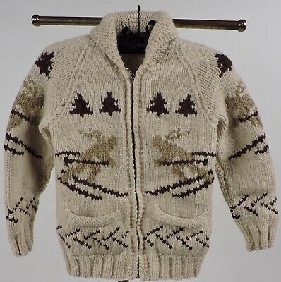 Vintage 1950'S Hand Woven Child's Sweater W Skiiers And Pine Trees