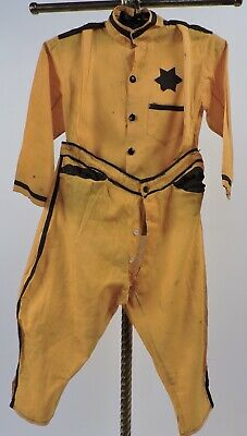 Antique 1920'S Child's 3 Pc Yellow And Black Halloween Costume W Overalls