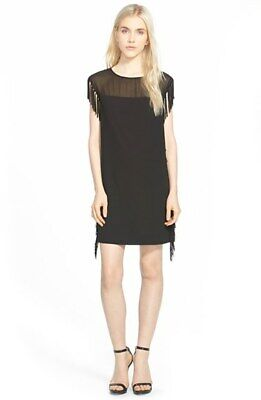 Bnwt Cooper & Ella Leah Fringe Black Mini Dress - M Rrp £240