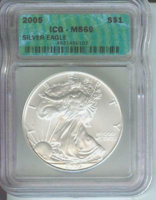 2005 American Silver Eagle ASE S$1 ICG MS69 MS-69 PQ+