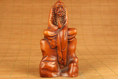 Blessing chinese old boxwood hand carved buddha monk statue figure ornament