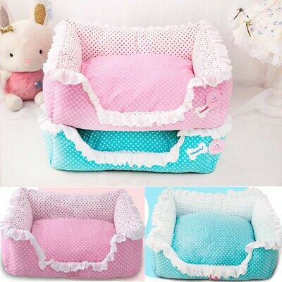Pet Kennel Sofa Dog Cat Bed Puppy Cushion House Cute Lace Soft Blanket Washable