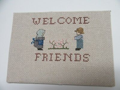 Finished Cross Stitch Welcome Friends Amish Couple Completed 5x7