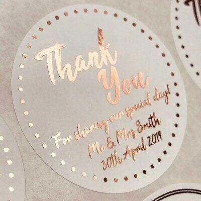 45Mm White Round Personalised Rose Gold Foil Thank You Wedding Labels Stickers