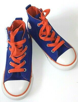 Converse Blue and Orange Infant Size 10 Hi Top Lace and Zip Up  - Rare Format