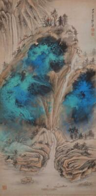"""Chinese Old Zhang Daqian Scroll Painting Scroll Landscape 74.8"""""""