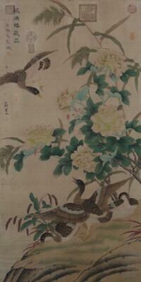 """Chinese Old Wang Yuan Scroll Painting Scroll Flower&bird 81.5"""""""