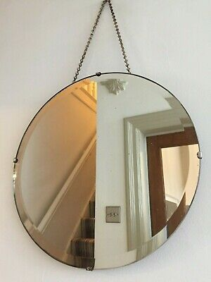 Round Vintage Frameless Bevelled Mirror Circular Long Original Chain 38cm m141