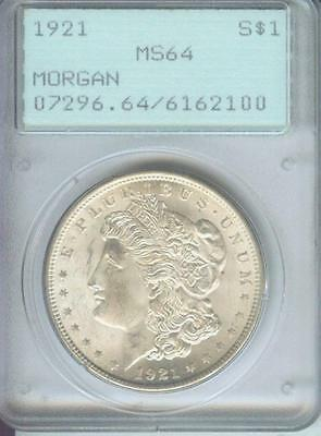 1921 MORGAN SILVER DOLLAR S$1 PCGS MS64 MS-64 First Generation RATTLER Holder !