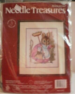 Needle Treasures ' Hunca Munca With Broom ' Beatrix Potter  8 X 10 Needlepoint