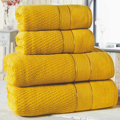 Luxury Extra Thick Super Soft Absorbent 100% Cotton Towels, Mustard Ochre Yellow