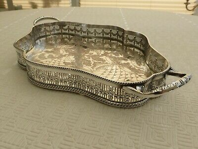 Viners Art Deco Silver Plated Floral Patterned Gallery Tray    1430628/634