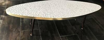 MCM White Ceramic Pebble Tile Surboard w/Brass Trim Coffee Table