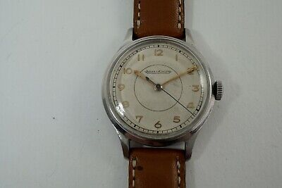 JAEGER LeCOULTRE MILITARY WORLD WAR II ERA STEEL SWEEP SECOND ORIG. DIAL 1940'S
