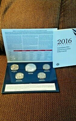2016 Us Annual Uncirculated Dollar Mint Set Burnished Silver Eagle Lettered Edge
