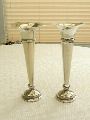Pair Of Hamo Epns Art Deco Silver Plated Cone Shaped Bud Vases    1430690/694