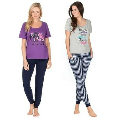 Ladies T Shirt & Cuffed Pants Pyjama Set, Cotton Lounge PJs Nightwear, 8-22, B51