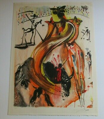 Vintage Salavdor Dali Lithograph Signed Limited Surrealism Butterfly Abstract