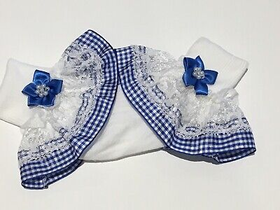 Handmade Royal blue school gingham frilly girls socks