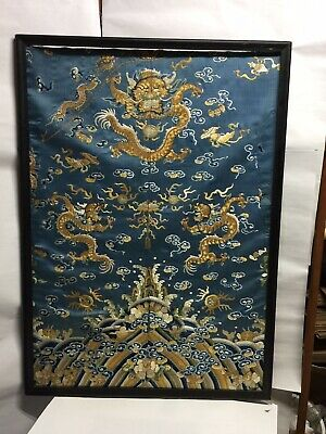 Fine Old Chinese Silk Embroidery Textile Old Robe Parted Scholar Work Of Art N/R