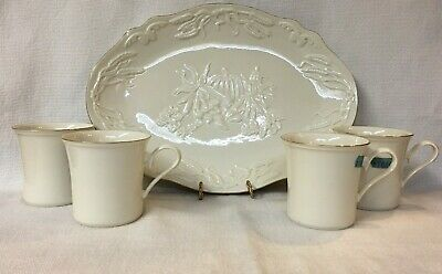 Lenox Harvest Serving Platter & 4 Gold Rimmed Coffee Mugs ~  Gold Mark Usa