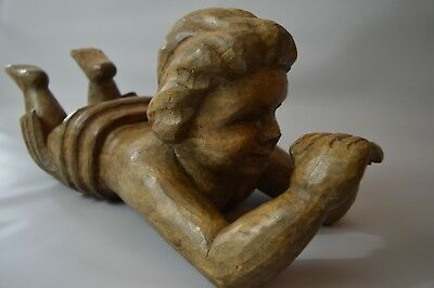 Large Antique Carved Wood Putti