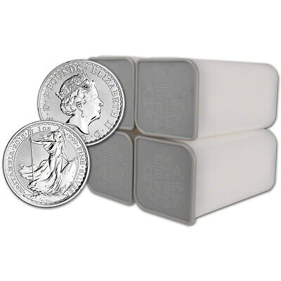 2018 Great Britain Silver Britannia £2 - 1 oz - BU - 100 Coins in 4 Mint Tubes