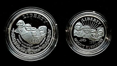 1991 2-Coin Mount Rushmore Set Proof