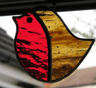 Stained Glass Robin, Suncatcher, Christmas Decoration, Handmade in England