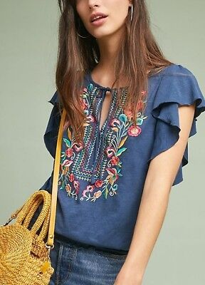a01689699d800 ANTHROPOLOGIE Ranna Gill Enesta Embroidered Flutter Sleeve Top NwT M L XL