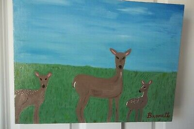 Deer,Wall Art Oil Painting,Fine Art,Handmade Gift,Original Art, By Bennett