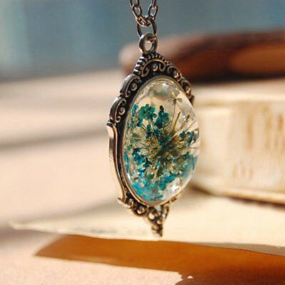 Fashion Natural Real Dried Flower Oval Glass Pendant Necklace Family Jewelry New