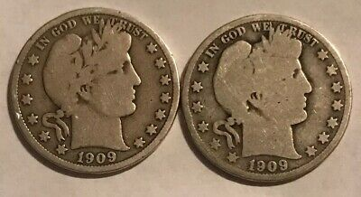 Lot of 2 1909-P Barber Half Dollars - 90% Silver - $1.00 Face Value