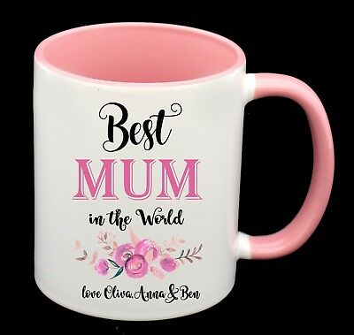 BEST Mum Personalised With Names Coffee Cup Mug Birthday Gift Mothers Day