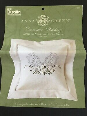 BUCILLA ANNA GRIFFIN ANTIQUE STYLE WEDDING PILLOW SHAM SEWING KIT Silk Ribbon