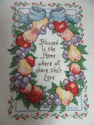 Finished Cross Stitch Fruit Wreath Blessed is the Home Share Love Completed