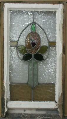 "EDWARDIAN ENGLISH LEADED STAINED GLASS SASH WINDOW Pretty Floral 14.25"" x 23.5"""