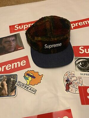 a19037d5b7f Supreme NY Plaid Fleece 5 Panel Camp Cap Hat F W 2014 Nas Arabic Clippers