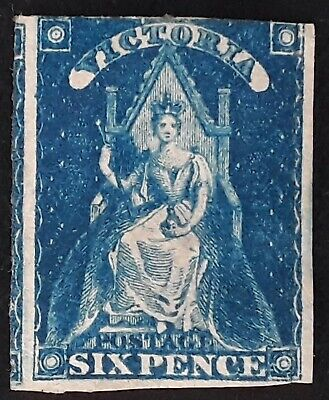 Rare 1858- Victoria Australia 6d Bright Blue Queen on throne Stamp Mint