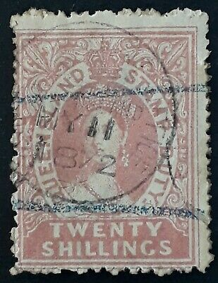 Rare 1868- Queensland Australia 20/- Rose Large Chalon Head stamp Duty Used
